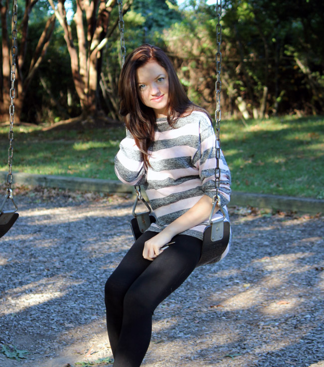 comfy and stylish fall look, H&amp;M striped pink sweater, fashion website