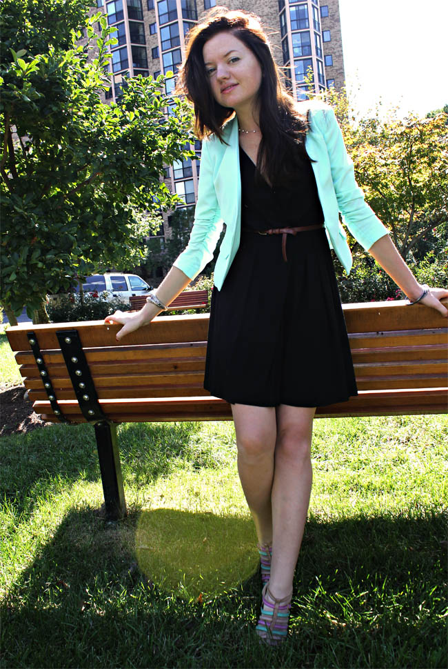 H&M aquamarine blazer, high cur blazer, stylish look fashion website