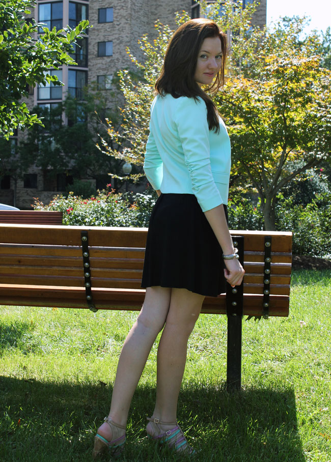 aqua blue H&M blazer, black dress, fashion blog, dc in style
