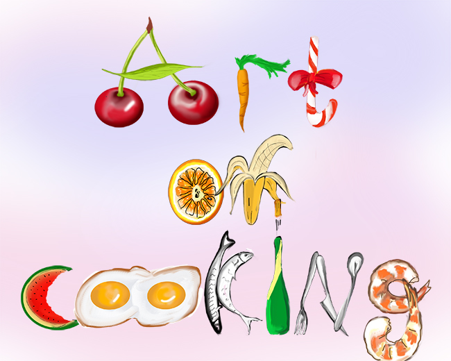 food typography illustration, Photoshop illustration, cute CG food drawing