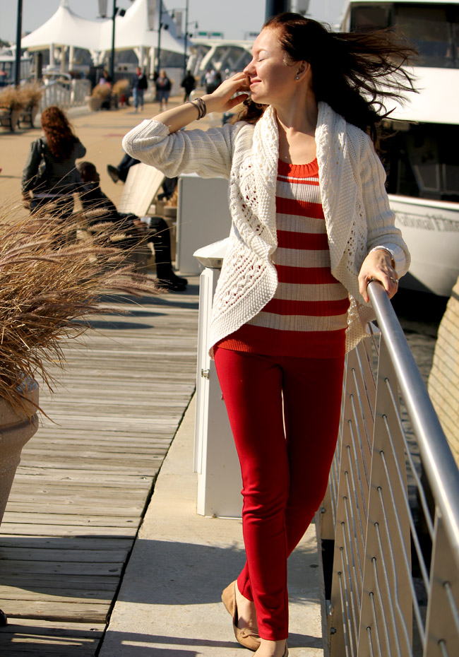 stretchy pants and sweater from Loehmann's beautiful fall sweater, how to combine fall shades