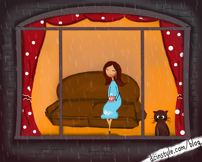 rain behind the window illustration, girls drinks tea during the rain drawing, cute Photoshop illustration