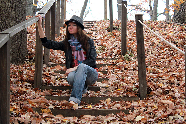 beautiful fall look, boyfriend jeans, scarf, denim jacket, fedora, comfy fall outfit