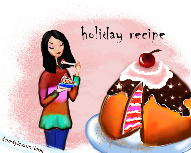 illustration created in Photoshop, CG art, cute illustration, cake illustration, holiday recipe illustration