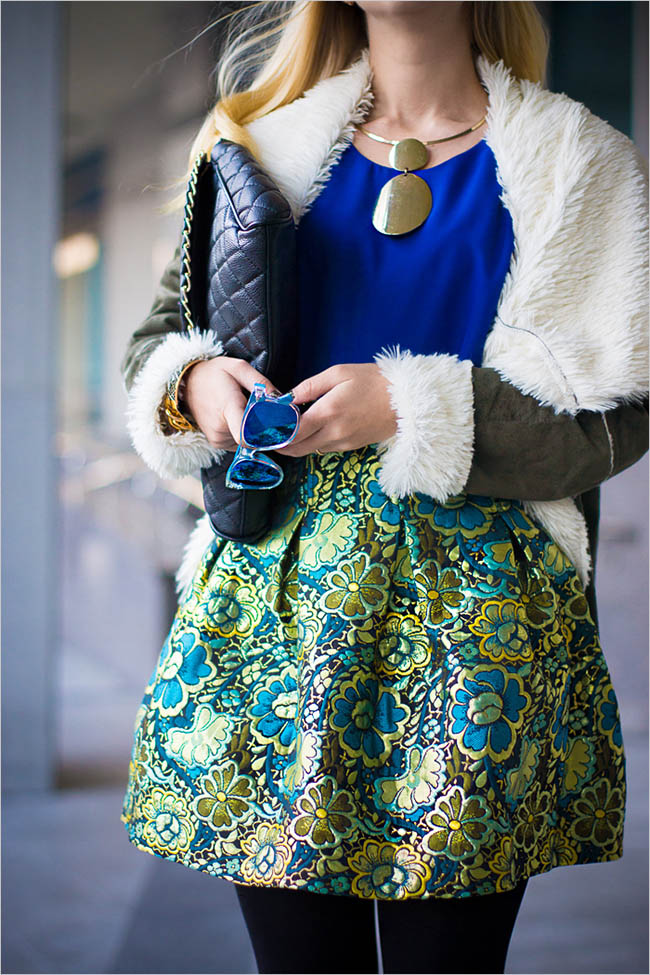Olga Choi, beautiful look, dc in style blog, fashion blog, artistic blog,baroque skirt, Forever21, fur coat, Giant Vintage, Oasap, Outfit, Romwe, YSL