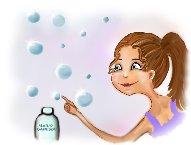 Marion Badescu skin products, whimsical illustration created in Photoshop. bubble illustration
