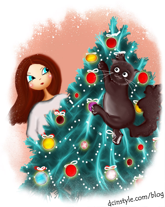 illustration created in Photoshop, fashion blog, cat climbs the Christmas tree illustration, Christmas illustration