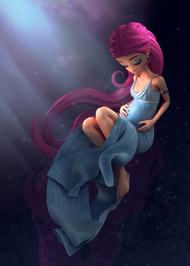 beautiful baby bump illustration, 3d pregnant girl illustration, illustration created in Maya