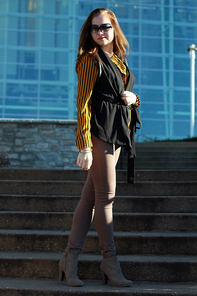 Langford market striped blouse/ leather accent vest/ skinny pants/ Daniel Wellington watch/ Naturalizer booties/ oasap bracelets