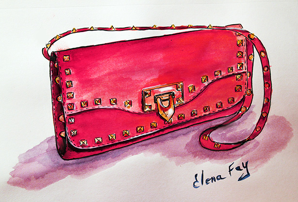 watercolor painting of purse, fashion illustration, watercolor drawing, art by Elena Fay, watercolor illustration by Elena Fay