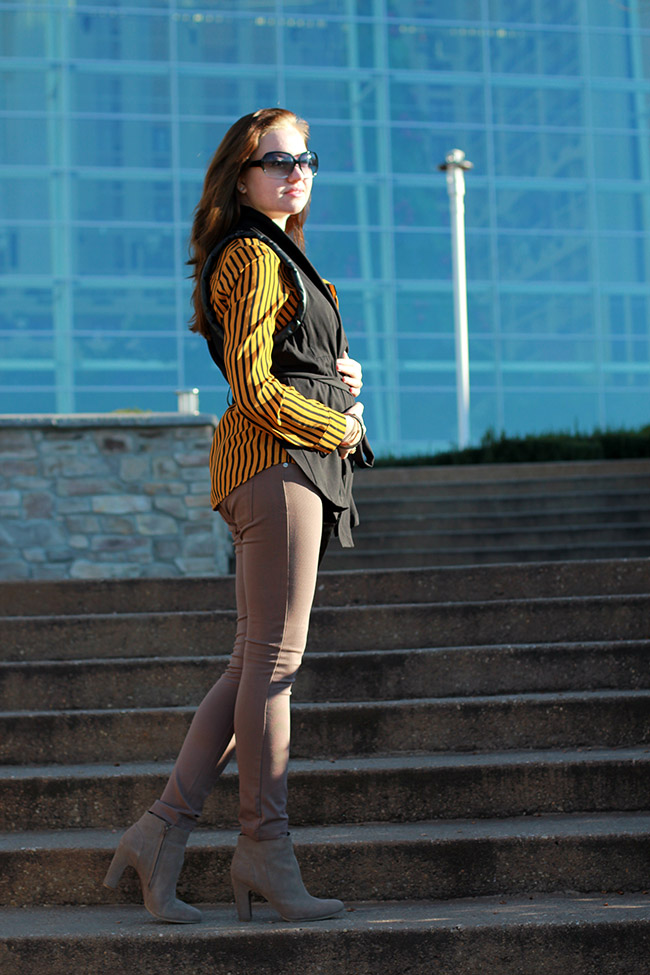 Langford market striped blouse/ leather accent vest/ skinny pants/ Daniel Wellington watch/ Naturalizer booties/ oasap bracelets/ dc in style/ fashion blog