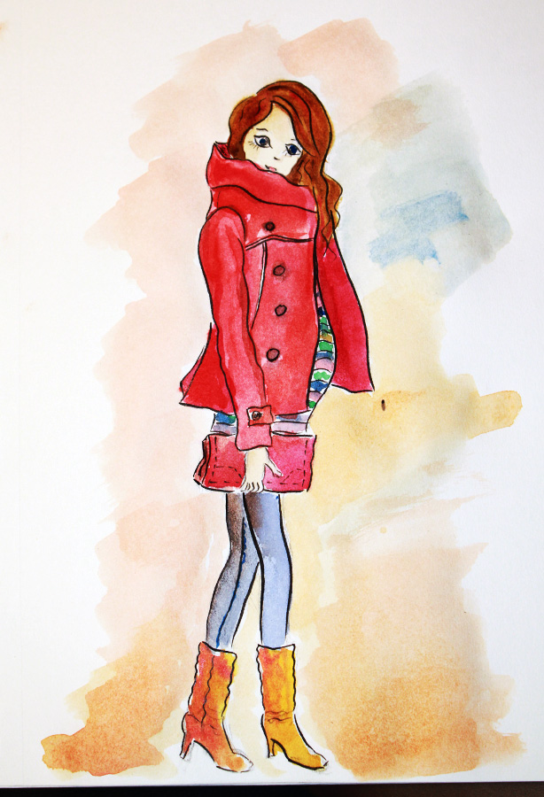 fashion illustration, watercolor painting, fashion sketch, art by Elena Fay