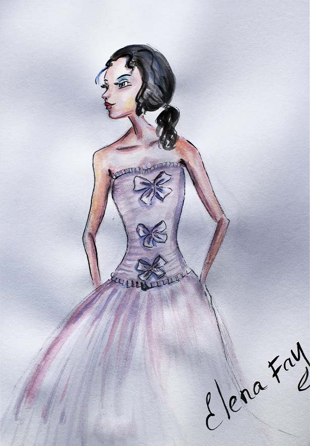 watercolor drawing, fashion illustration created by Elena Fay, Fashion sketch, drawing art
