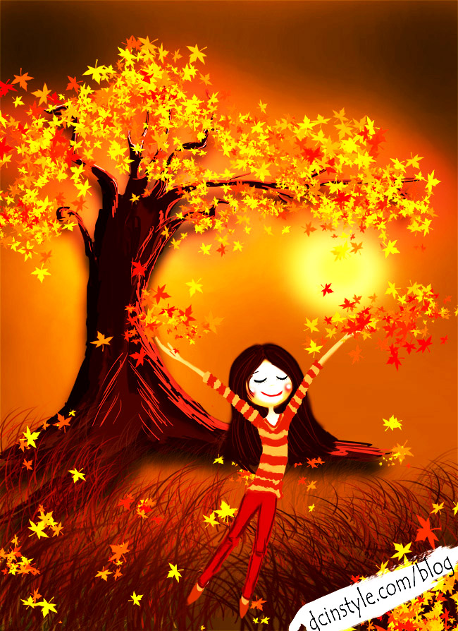 girl throws leaves illustration, beautiful Photoshop drawing, inspiring illustration, best CG art