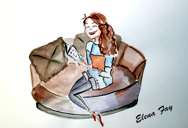 girls reads illustration, watercolor drawing, watercolor painting, children illustration by Elena Fay