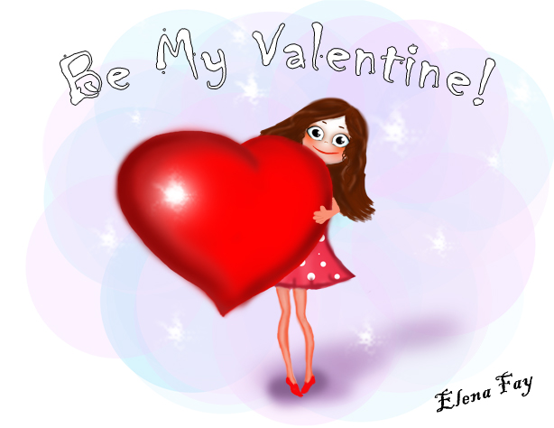 valentine's day illustration_be my valentine_cute illustration_CGArt_ cute drawing by Elena Fay