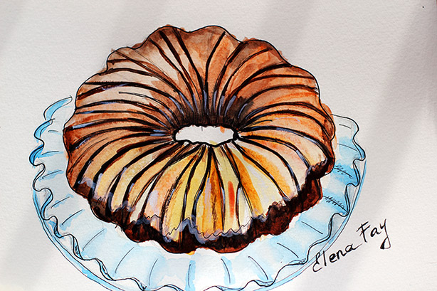 cake illustration, food illustration, cake watercolor, sketch, art, drawing