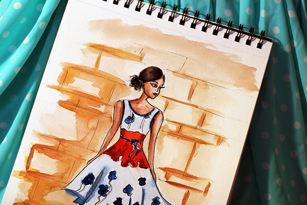 fashion illustration, watercolor drawing, art, painting, fashion sketch, art by Elena Fay