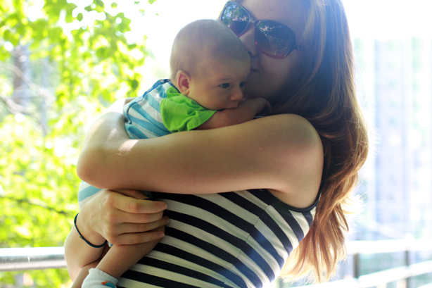new mommy, newborn, cute baby, stripes, matchy looks