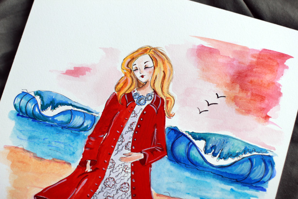 Watercolor fashion illustration, cute drawing, fashion sketch, art by Elena Fay, creative blog