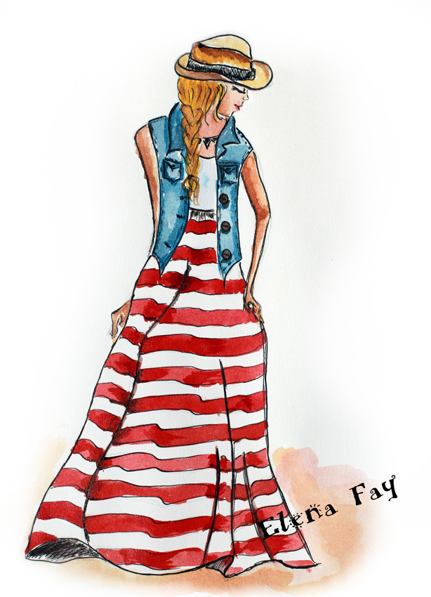 fashion illustration, drawing, art, sketch, watercolor