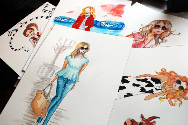 fashion illustration, watercolor drawing, art, fashion sketch, fashion art by Elena FAy