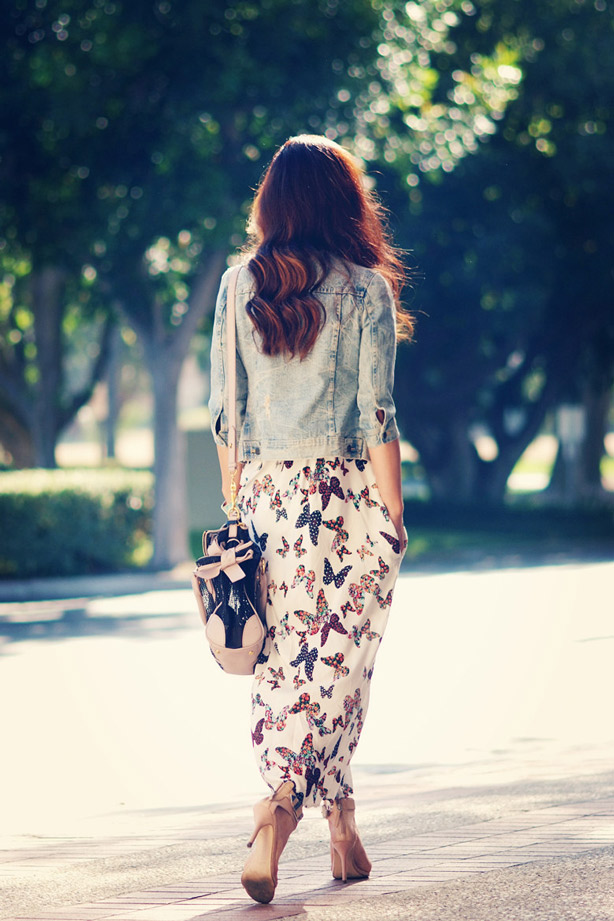 Hallie Daily, fashion inspiration, maxi skirt, denim,