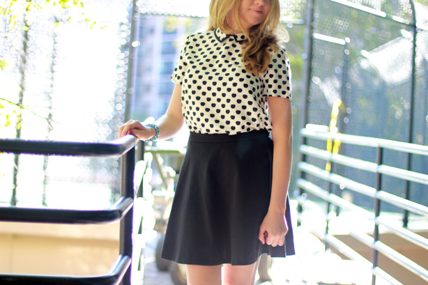 kate spade new york 'sierra' print blouse, kate spade, polka dots, Halogen� Flared Ponte Skirt, jeffrey campbell