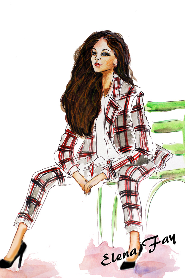 fashion illustration, fashion painting, art by Elena Fay