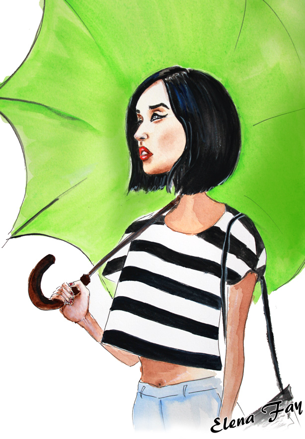 fashion illustration, watercolor drawing, fashion art, girl with umbrella, Gary Pepper illustration