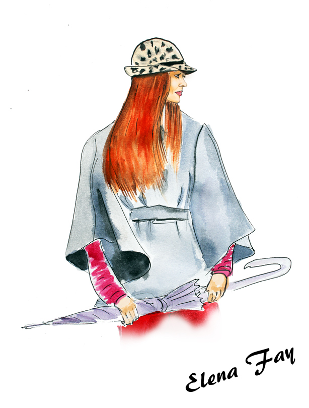 fashion drawing, sketch, watercolor, drawing, Monday Bloom