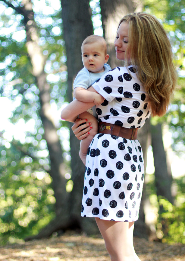 topshop dress, polka dots, maternity style, how to look stylish while on maternity leave