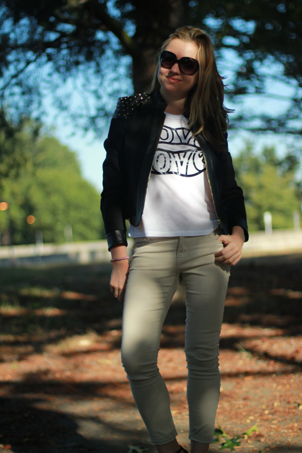 graphic tank, faux leather jacket, H&M studded jeans
