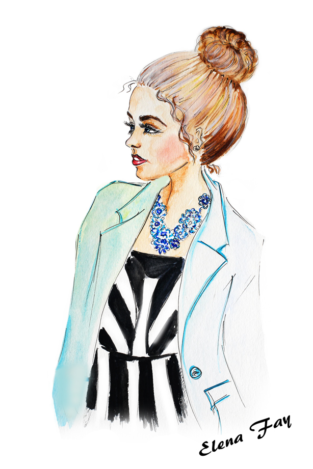 fashion illustration, watercolor painting, fashion sketch, jewelry illustration