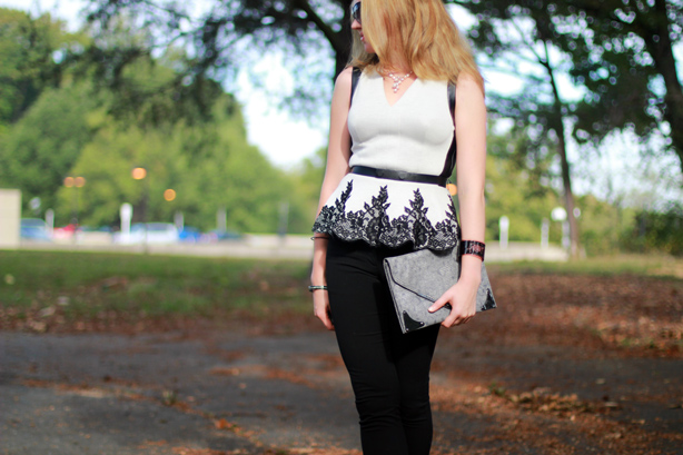 Robert Rodriguez Lace Appliqu� Peplum Top, peplum top, Monday bloom, DC fashion blogger, BCBG pumps, H&M skinny pants
