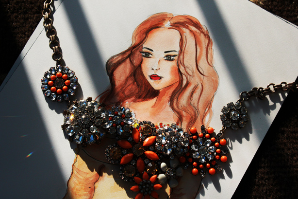 fashion illustration, giveaway, statement necklace