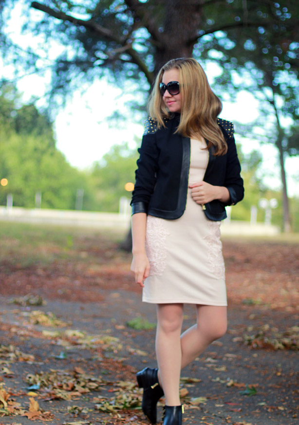 leather jacket, studded jacket, pastel dress