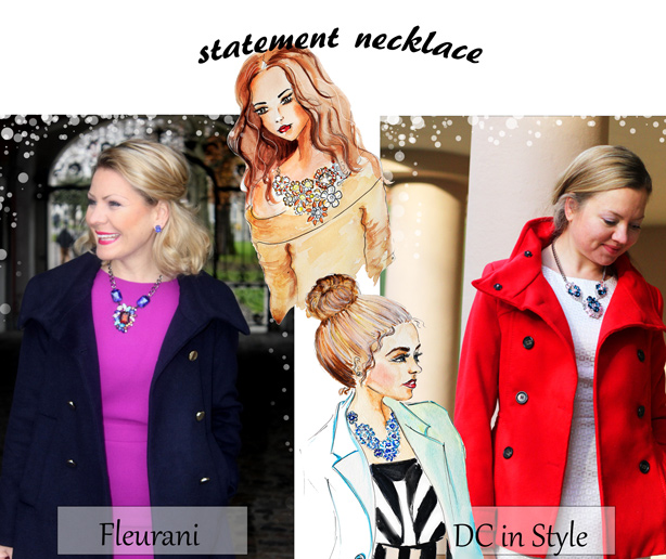 statement necklace, link up, fashion blog, dc in style