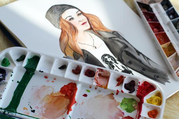 fashion illustration, watercolor painting, sketch, art by Elena Fay