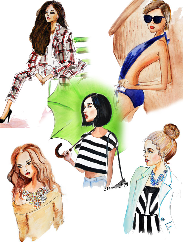 illustrations, fashion illustration collage, drawings, paintings, art