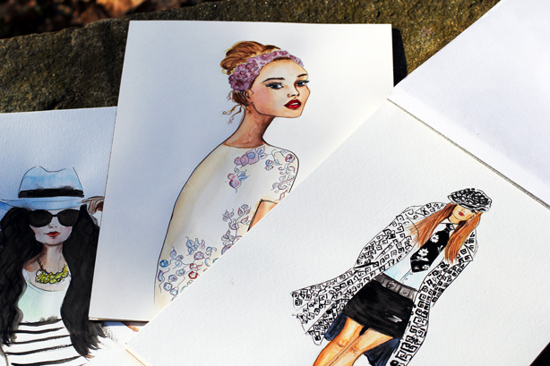 fashion illustrations, watercolor paintings, art meets fashion