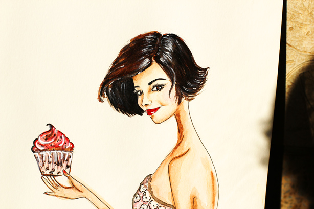 fashion illustration, watercolor painting, fashion art, watercolor art, art by Elena Fay, diet illustration, fun gift