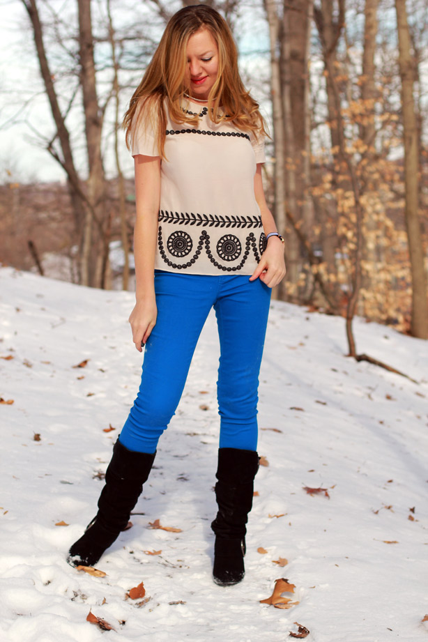 winter blues, skinny jeans, boden top, winter boots