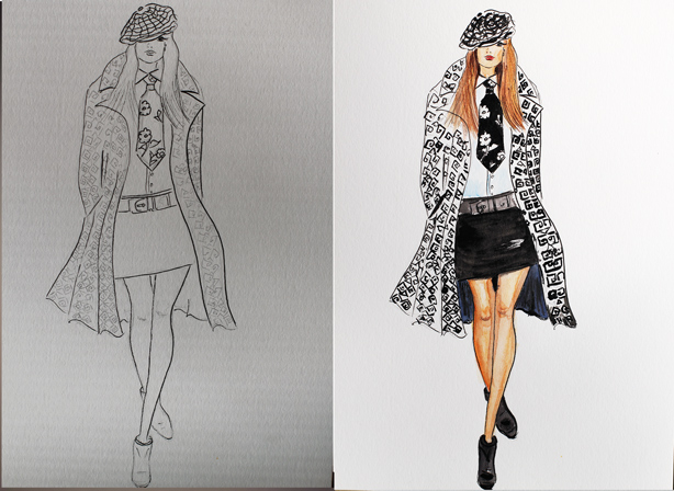 fashion illustration, watercolor sketch, drawing, Ralph Lauren 2014