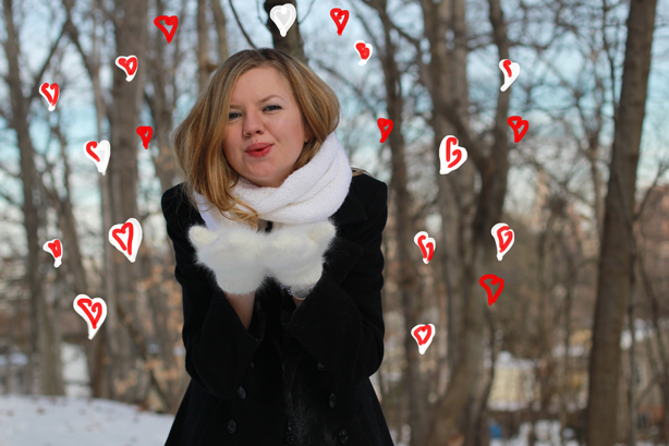 happy Valentine's day, blowing kisses