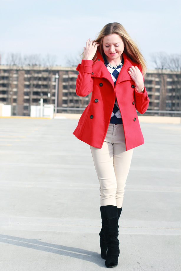 red coat, skinny jeans, JCrew top