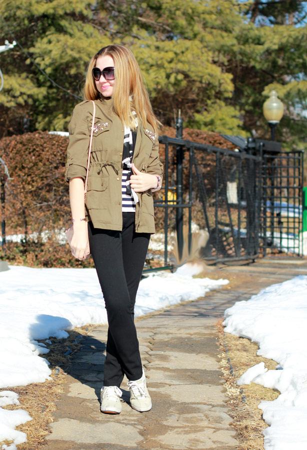embellished jacket, striped top, casual Sunday look