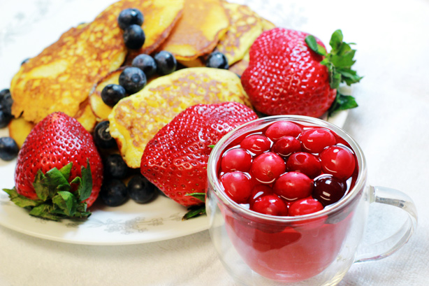 pancakes and cranberries, morning treats, breakfast in bed