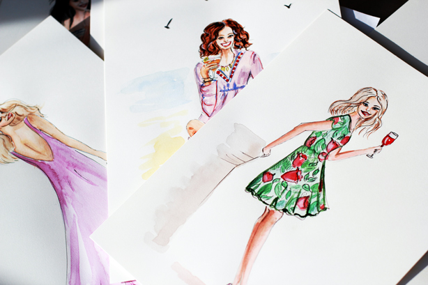 fashion illustration, watercolor drawing, girls with a glass of wine sketch, floral dress sketch