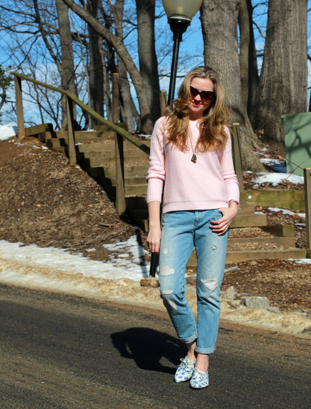 Gap boyfriend jeans and cozy sweater, floral shoes